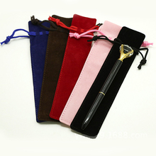 Velvet Drawstring Pen Pouch Holder Single Pencil Bag, Rope Locking Gift Bag
