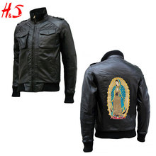 New 2018 In Alibaba Mens Pointed Collar Windproof Faux Leather Fabrics Embroidered Bomber Jacket