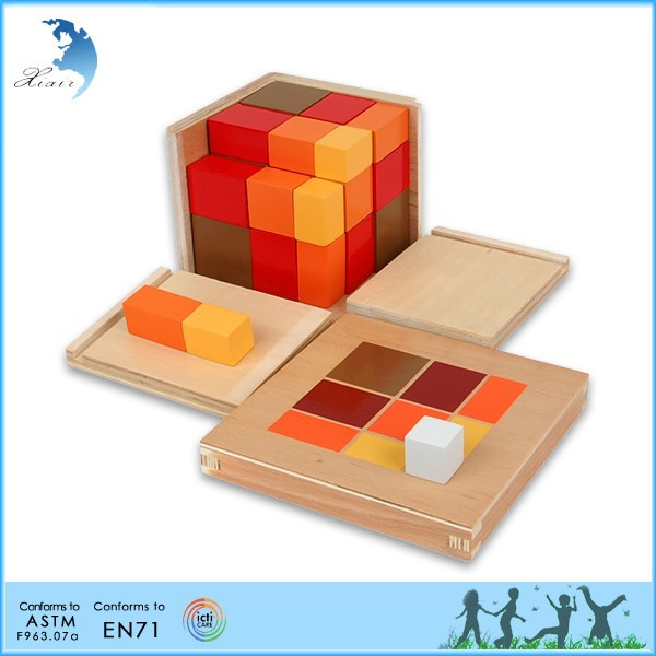 Wooden Montessori Materials,Educational Wooden Toys,Montessori Algebraic Trinomial Cube