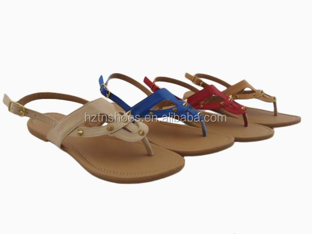 TPR outsole women thong sandals casual flat ladies beach sandals flip flop sandal with sharp rivet