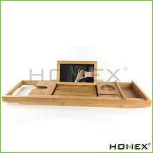 Bamboo Bathtub Caddy/Bathroom Bath Tray With Mirror Homex-BSCI