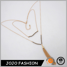 New gold chain designs for men latest products gold black bead long chain necklace