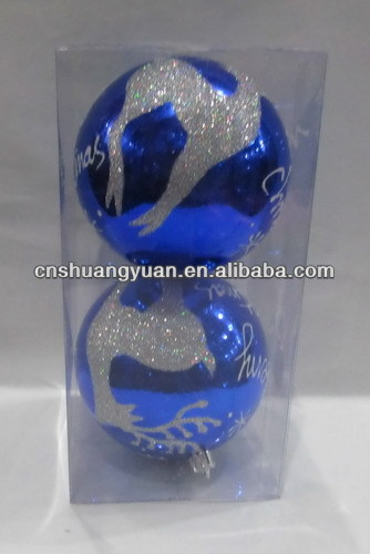 shiny Plastic Printed Christmas Ball with Deer cheap ornament