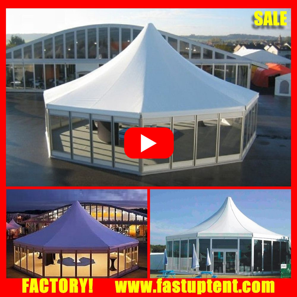 Best Decagon Hexagon Pagoda Luxury permanent wedding raj tent with glass door for Wedding tent rental