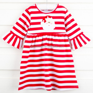 Red and white stripes cotton Christmas Santa Claus baby smocked dress