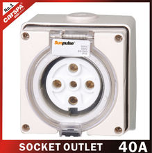 40A with 5 hole european electrical outlet socket