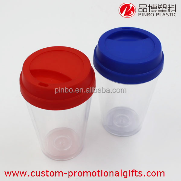 double wall mug,custom printed 150ml plastic double wall coffee cups,reusable plastic cup with lid
