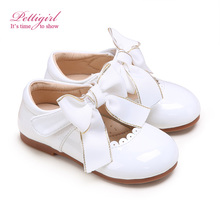 Pettigirl White Princess Girls Shoes Lovely Bowknot Leather Baby Shoes In Bulk GS909-01WH