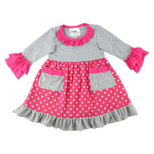 Kaiyo long sleeve pocket ruffle dress baby frock design pictures children's boutique clothing