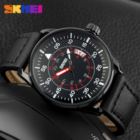 fashion japan mov't stainless steel genuine leather quartz wrist watch