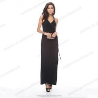 Black halter sleeveless chiffon ruffle v-neck fishtail spaghetti strap evening dress