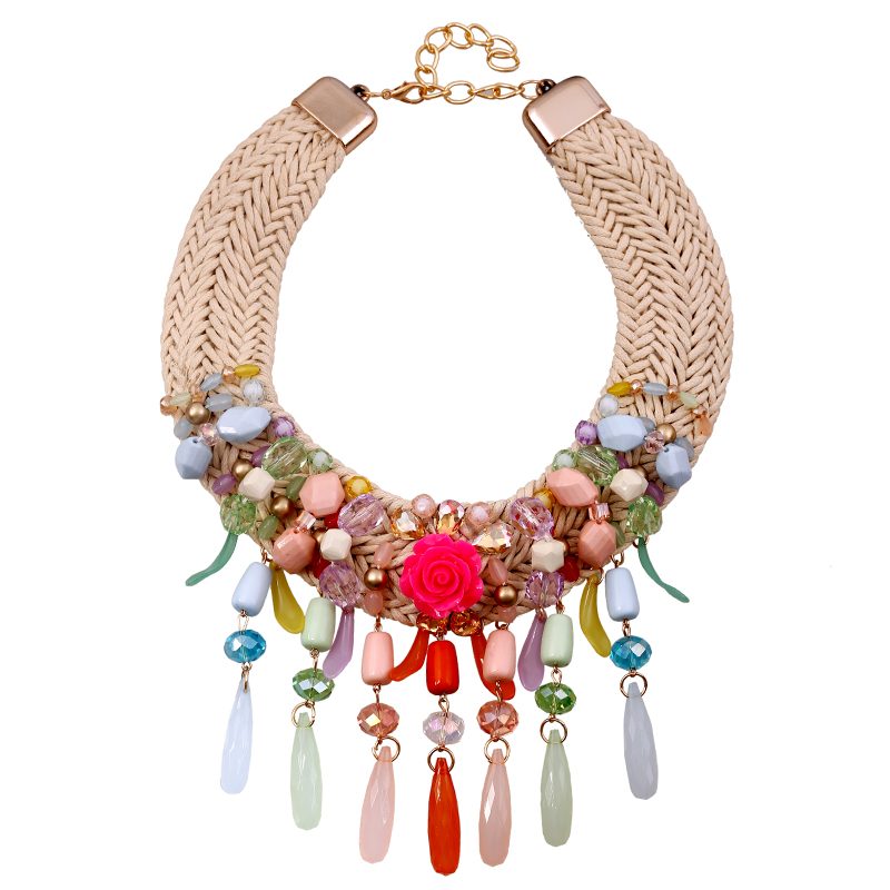 Ethnic Fusion crystal cotton rope string necklace