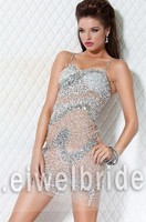 S1151 Scoop spaghetti straps beading sexy see through cocktail dress