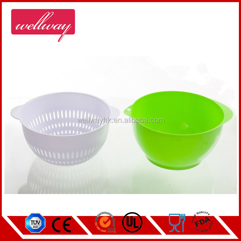 Large Colander & Bowl for Fruits Vegetable Cleaning Washing with Integrated Colander, Mixing Bowl and Strainer,GREEN