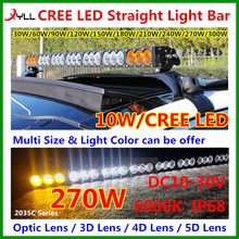 DC10-30V IP68 Waterproof 270w off road 4wd car roof emergency signal led light bar