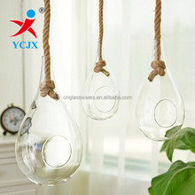 HANDMADE BIG SIZE HANGING GLASS TERRARIUM CRAFT WITH ROPE