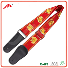 "2"" wide Jacquard Weave Guitar Strap, Genuine leather ends Guitar Strap, Sun design Guitar Strap"