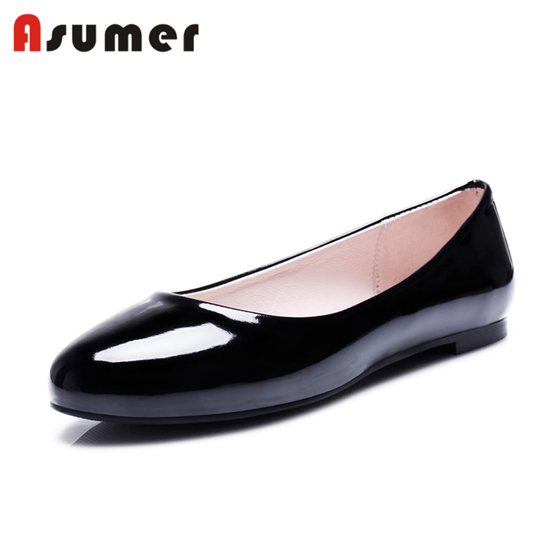 Asumer big size safety leather soles beautiful ladies flat shoes