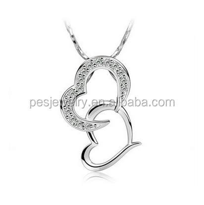 PES fashion jewelry! Cublic Zircon charm double heart pendant necklace (PES100-144)