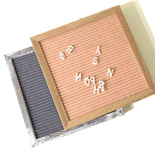 Premium 10x10 Oak Wood Frame Letter Board With 360 Changeable Letters and Cotton Bag Letter Board