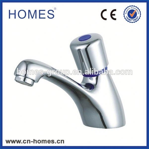 Time delay copper water tap chrome plated from China yuhuan push button faucet supplier