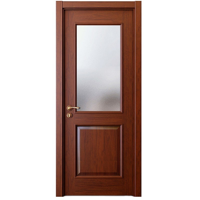 2017 New Design Brown Walnut Solid Wood Frame Security Door With