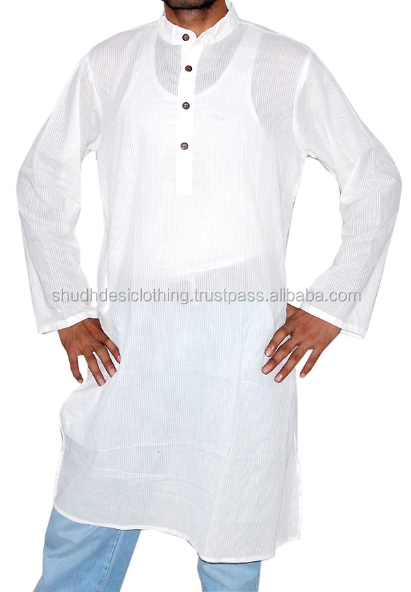 Long Cotton White Kurta for Men's