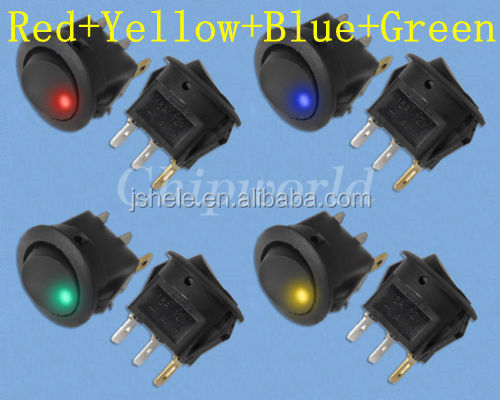 Red Yellow Blue Green Led Light 12V DC OFF/ON Car Boat Truck Rocker Switch