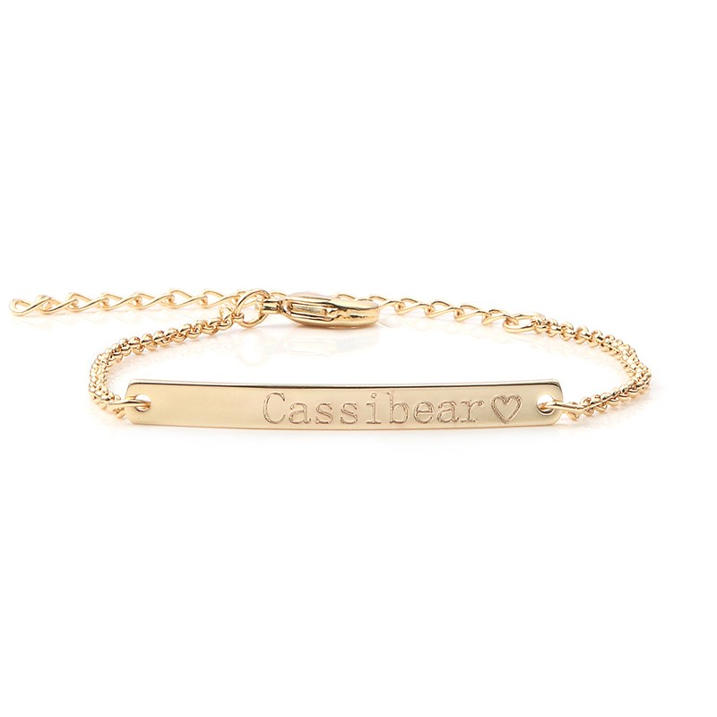 Custom Name Engraved Bracelet delicate stacking gold minimal message engrave skinny bar Bracelet Bridesmaid <strong>jewelry</strong>