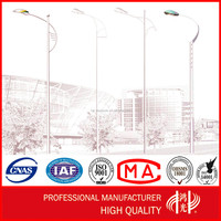 6m Single Arm Street Steel Light Pole , Road lamp Post with Galvanization and Powder Coated