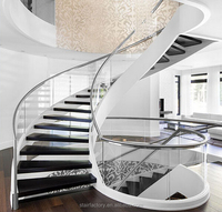 Australian modern wood staircase, arcs staircase, indoor stairs, glass railings, TS-249