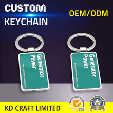High quality custom promotional rectangle shaped metal silver plating surfboard keychain with logo