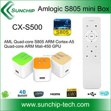 Special mini tv box !!! amlogic s805 quad core internet tv receiver box ,support kodi /xbmc, with BT remote controller
