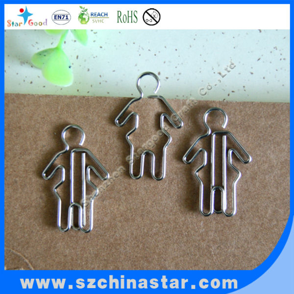 OEM design metal human shaped paper clip as promotion commodity