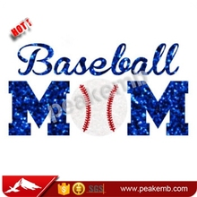 Wholesale Glitter Hotfix Rhinestone Baseball Mom Heat Transfer Printed for Clothing