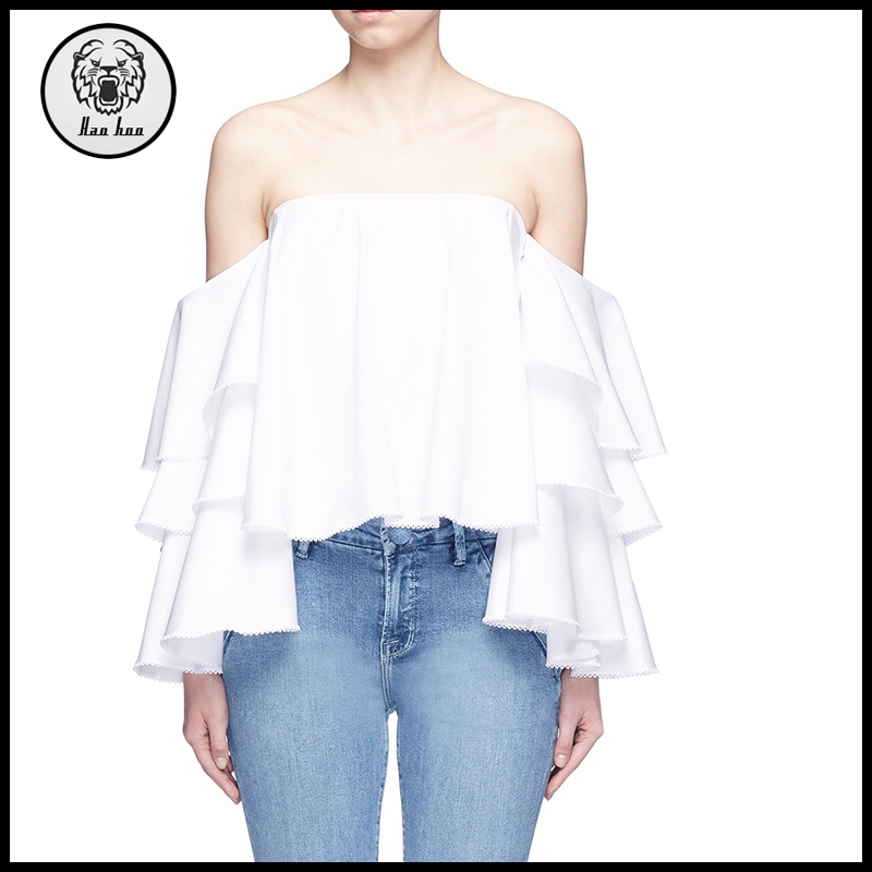 2017 Custom fashion women clothing white off shoulder tiered ruffle sleeve top