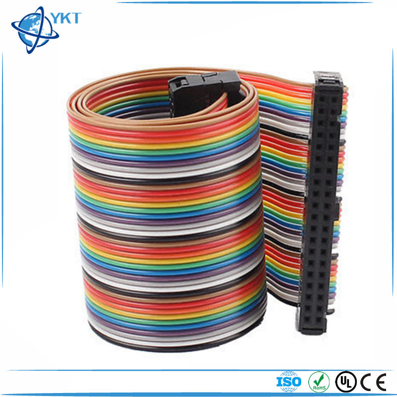2.54mm Pitch 40 Pin 40 Way F/F Connector IDC Flat Rainbow Ribbon Cable