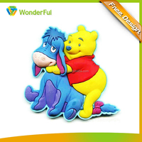 AZO Free Eco-Friendly Promotional Gift PVC Cartoon Winnie Design Color Injection Technics Soft Rubber Fridge Magnet