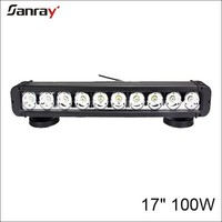 17 inch 100w single row waterproof cool white temperature offroad led work light bar for truck