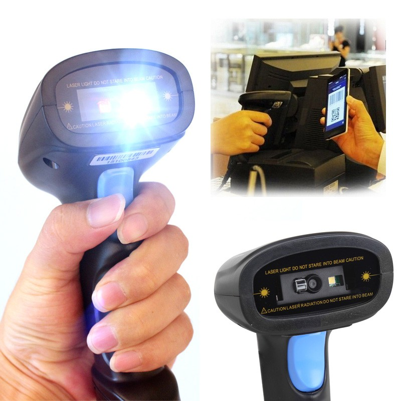 2D QR Wired Handheld USB laser Barcode Scanner Reader support mobile payment computer screen scanner