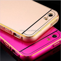 Hybrid metal aluminum bumper + pc back mobile phone case cover for iphone 5s