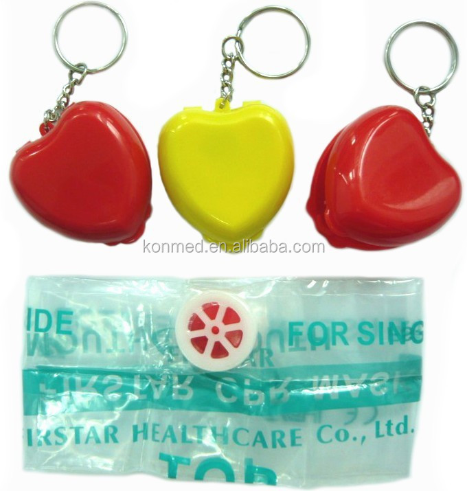 Heart shape mini cpr mask keyring with PVC face shield colorful available(logo print service)