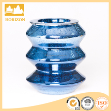 Blue mercury glass candle holder for Christmas