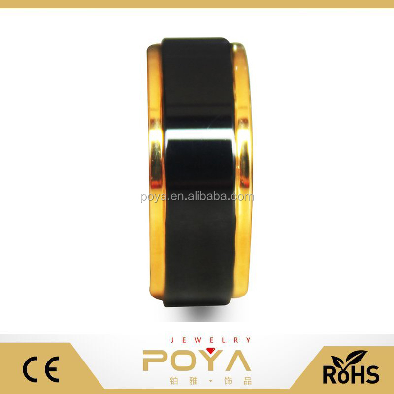 POYA Jewelry 8mm Black Tungsten Carbide Rings Gold Edges and Raised Center Top Polished