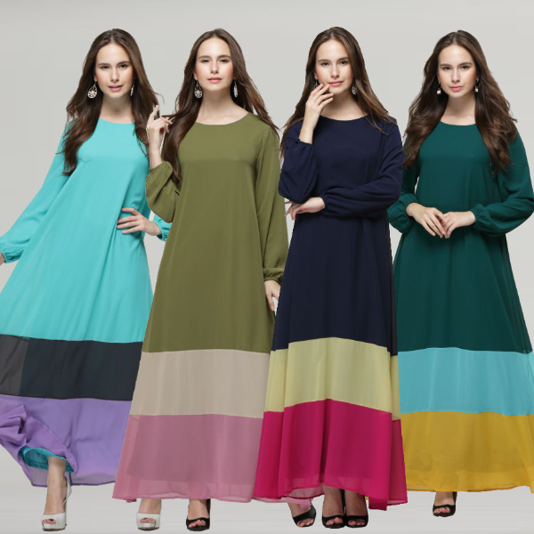 MS70872L Beautiful women colorful maxi long sleeve muslim dress long dress chiffon new style