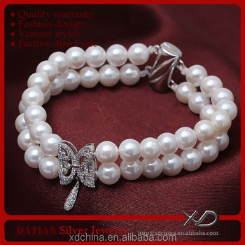 XD SSB193 fashion butterfly connector 925 silver magnetic clasp imitation pearl bracelet