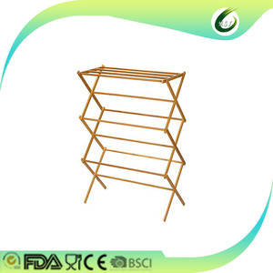 Simply folded bamboo drying laundry rack and hanger