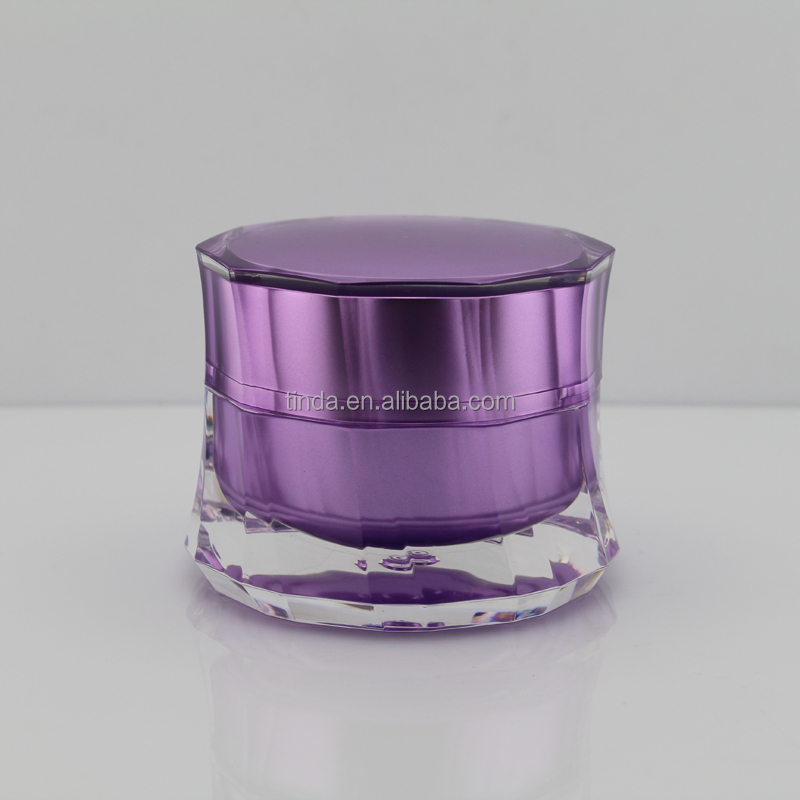 Plastic cosmetics packaging 50 g acrylic cream jar thin waist bottle
