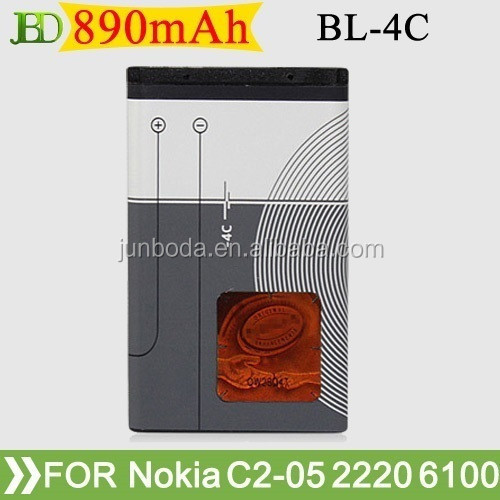 890mah replacement 3.7v li-ion bl-4c cell phone battery