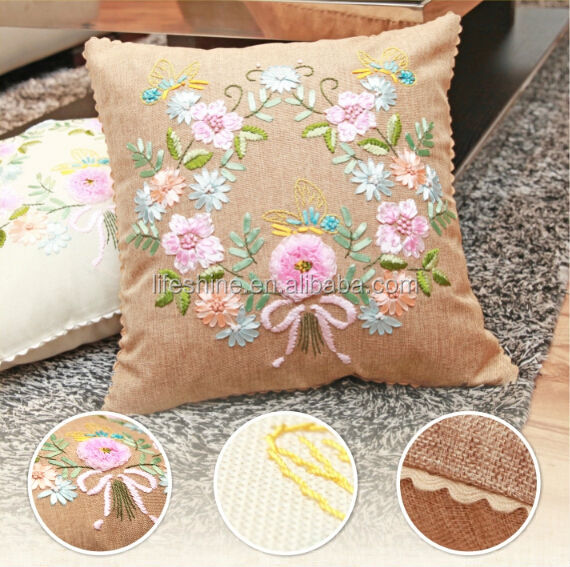 Ribbon embroidery finished cushion with beautiful flower design